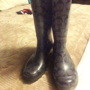 Blue coach rain boots